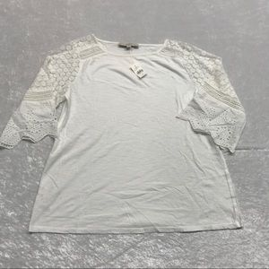 NEW Loft 3/4 Elbow Length Sleeve White Tee